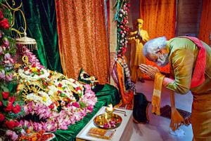 Prime Minister Narendra Modi offers prayers while attending the foundation stone laying ceremony for the construction of the Ram mandir in Ayodhya on August 5, 2020.(PTI (Twitter image posted by @narendramodi))