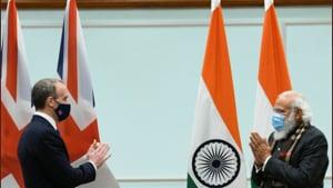 PM Modi and UK foreign secretary Dominic Raab (twitter.com/narendramodi)