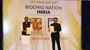 AIFF President Praful Patel and Sports Minister Kiren Rijiju during the launch of India's bid book for the 2027 AFC Asian Cup(AIFF Photo)