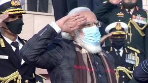 Prime Minister Narendra Modi at the National War Memorial in New Delhi on Wednesday.(ANI Photo)