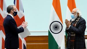 UK foreign secretary Dominic Raab calls on Prime Minister Narendra Modi on Wednesday.(ANI)