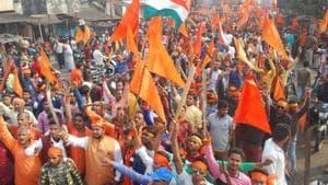 Members of Bajrang Dal in Dhanbad.(Bijay/HT File Photo)