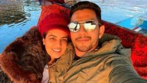 Aditya Narayan and Shweta Agarwal pose for a photo on their honeymoon.