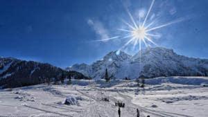 Tourists enjoying snow covered slopes in sonamarg on December 17,2020.(HT Photo/ Waseem Andrabi)