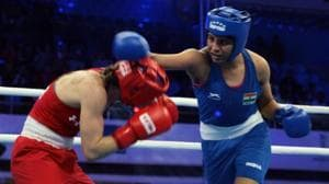 Photo of Indian boxer Simranjeet Kaur (in blue outfit)(Twitter)