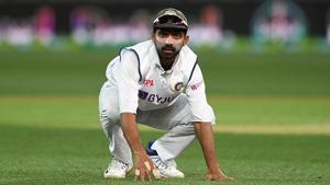 Ajinkya Rahane looks on(Getty Images)