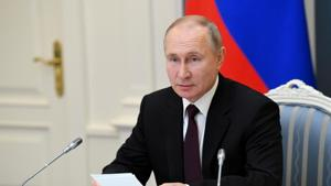 Russian President Vladimir Putin attends a meeting via video link in Moscow, Russia.(via REUTERS)