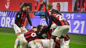 Soccer Football - Serie A - AC Milan v Lazio - San Siro, Milan, Italy - December 23, 2020 AC Milan's Theo Hernandez celebrates scoring their third goal with teammates(REUTERS)