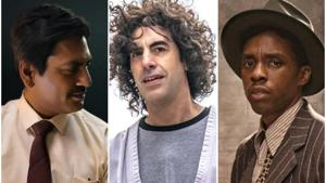 Nawazuddin Siddiqui in Serious Men, Sacha Baron Cohen in The Trial of the Chicago 7, and Chadwick Boseman in Ma Rainey's Black Bottom.