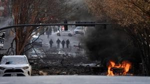 A vehicle burns near the site of an explosion in the area of Second and Commerce in Nashville, Tennessee, US.(via REUTERS)