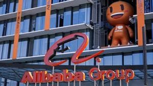 The Alibaba Group logo is seen during the company's 11.11 Singles' Day global shopping festival at their headquarters in Hangzhou, Zhejiang province, China.(REUTERS)