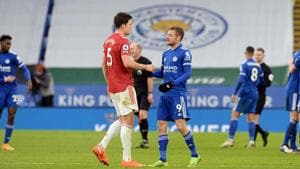 Jamie Vardy of Leicester City and Harry Maguire of Manchester United.(Getty Images)