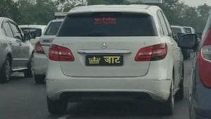 Vehicle sporting a caste sticker in Uttar Pradesh.