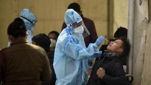 New Delhi, India - Dec. 27, 2020: Incomming travellers being screened for coronavirus infection at Anand Vihar Inter State Bus Terminal (ISBT) in New Delhi, India, on Sunday, December 27, 2020. (Photo by Biplov Bhuyan/ Hindustan Times)
