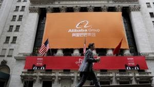 FILE PHOTO: Signage for Alibaba Group Holding Ltd. covers the front facade of the New York Stock Exchange November 11, 2015. REUTERS/Brendan McDermid/File Photo