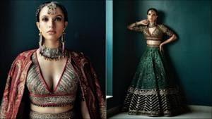 Tripti Dimri's bold look, emerald green lehenga are winter wedding inspo for 2021(Instagram/jjvalaya_the.other.side/hoorvi.j.valaya)