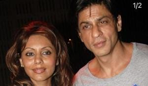Shah Rukh Khan poses with wife Gauri Khan.
