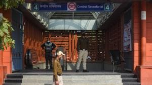 CISF personal stand guard outside Central Secretariat Metro station.(Amal KS/HT PHOTO)