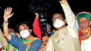 Madhya Pradesh Chief Minister Shivraj Singh Chouhan along with BJP MP Jyotiraditya Scindia.(ANI)