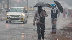 Pedestrians holding umbrellas walk in rain.(PTI Photo)