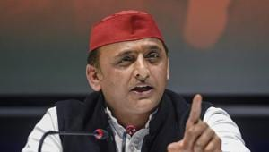 Samajwadi Party chief Akhilesh Yadav addresses a press conference at the party office in Lucknow on Saturday.(PTI PHOTO.)