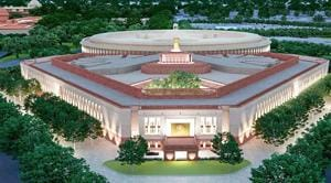 File photo: A model of the proposed new Parliament building in New Delhi.(PTI)