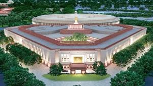 A model of the proposed new Parliament building, in New Delhi.(File photo)