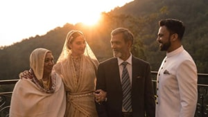 Ali Abbas Zafar with his wife, Alicia and his parents.