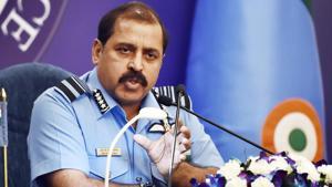 Chief of the Air Staff, Air Chief Marshal Rakesh Kumar Singh Bhadauria addresses a press conference.(Ajay Aggarwal/HT PHOTO)