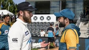 New Zealand captain Kane Williamson, left, shakes hands with Pakistan's Mohammad Rizwan following play on day four of the second cricket test between Pakistan and New Zealand at Hagley Oval, Christchurch, New Zealand, Wednesday, Jan 6. 2021. New Zealand defeated Pakistan by an innings and 176-runs to win the test two test series 2-0.(AP)