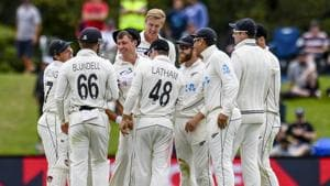 New Zealand players celebrate the wicket of Pakistan's Abid Ali during play on day four of the second cricket test between Pakistan and New Zealand at Hagley Oval, Christchurch, New Zealand, Wednesday, Jan 6. 2021.(AP)