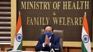 Earlier, the health minister held a meeting with the health ministers, principal secretaries and additional chief secretaries of states and UTs to review the preparedness of the vaccination mock drill in their respective areas.(PTI Photo)