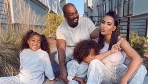Kanye West and Kim Kardashian with their children North and Saint.(Instagram)