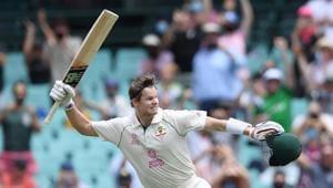 Steve Smith of Australia celebrates making his century.(via REUTERS)