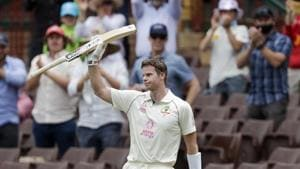Australia's Steve Smith waves to the crowd as he walks from the field after he was run out 131 runs during play on day two of the third cricket test between India and Australia at the Sydney Cricket Ground, Sydney, Australia, Friday, Jan. 8, 2021. (AP Photo/Rick Rycroft)(AP)