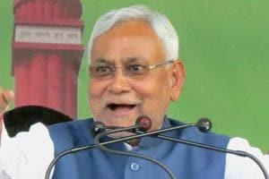 Bihar CM Nitish Kumar addresses a rallyin Motihari.
