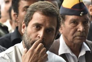Congress Vice President, Rahul Gandhi addresses media at a press conference.