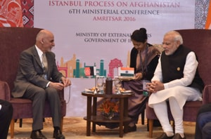 Afghan president Ashraf Ghani with Prime Minister Narendra Modi at the sixth ministerial conference of the Heart of Asia-Istanbul  Process in Amritsar on December 4, 2016.