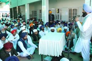 Bathinda (rural) halqa in-charge Gurbinder Singh Banwala addressing a gathering in Bathinda on Saturday.