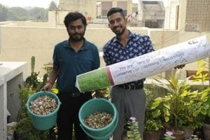 Vishal Kanet (right) and Naman Gupta saw the cigarette waste strewn around after a party at a friend's place and got the idea for their venture.