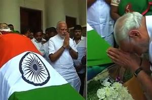 Prime Minister Narendra Modi paid last respects to the departed Tamil...