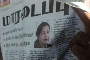Jayalalithaa's image is seen on a newspaper in Chennai.