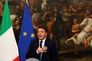 Italian Prime Minister Matteo Renzi speaks during a media conference after a referendum on constitutional reform at Chigi palace in Rome on December 5.