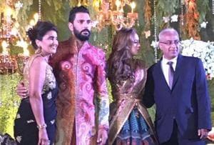 Yuvraj Singh and Hazel Keech celebrated their wedding reception in New Delhi.