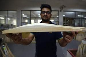 A bat manufacturer displaying an exceptionally thick wood that goes into making fat, custom-made bats. The Marylebone Cricket Club has recommended restrictions on the size of bats to ensure balance between bat and ball.