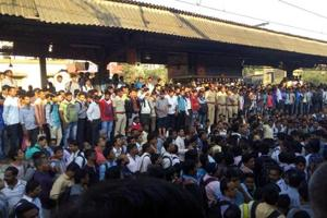 Commuters blocked tracks at the Titwala railway station on Wednesday to protest frequesnt delays of local trains.