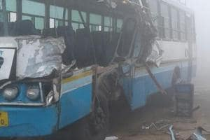 Low visibility: Woman killed, 14 injured as bus rams into parked truck