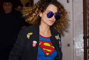 Actor Kangana Ranaut  rocks a jacket with embroidered patches.