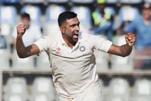 Indian spinner Ravichandran Ashwin celebrates after taking an England wicket during Day 2 of the fourth Test at Wankhede stadium in Mumbai. Ashwin took six wickets while spin partner Ravindra Jadeja took four English scalps in the first innings.
