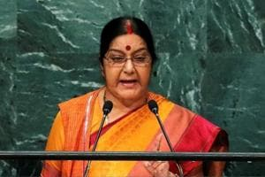 Sushma Swaraj addresses the United Nations General Assembly in New York on September 26.